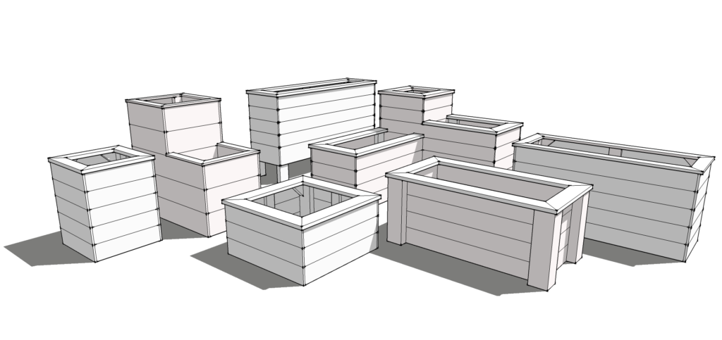 3D planter box design plans schematics