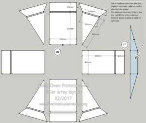 Solar oven solar array layout. This was made to fit my lid - but to custom fit it just change the dimensions of the 'box' in the center, the rest will be the same as pictured.