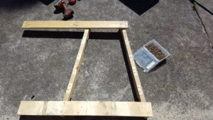Now that the frame is locked into position, start adding more timber slats.