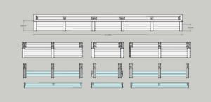 sectioned balcony planter box drafting 3d example
